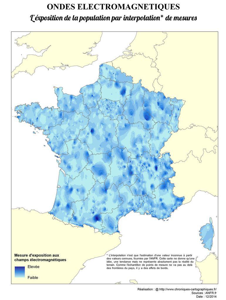Carte De France De L'exposition Aux Ondes Électromagnétiques dedans Carte De France Pour Les Enfants