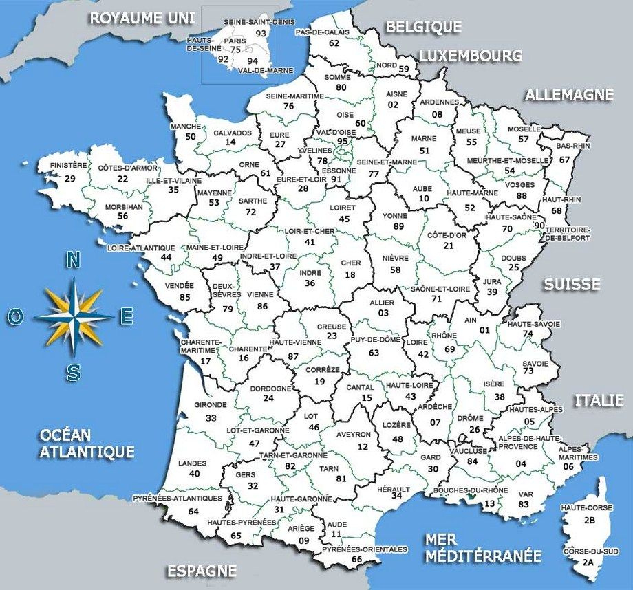 Carte De France Départements | Carte De France Département encequiconcerne Imprimer Une Carte De France