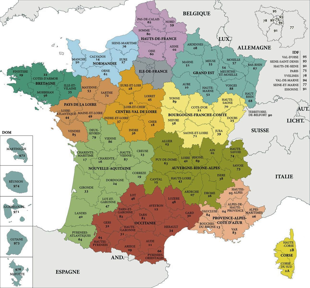 Carte De France Departements : Carte Des Départements De France dedans Carte De France Avec Département À Imprimer