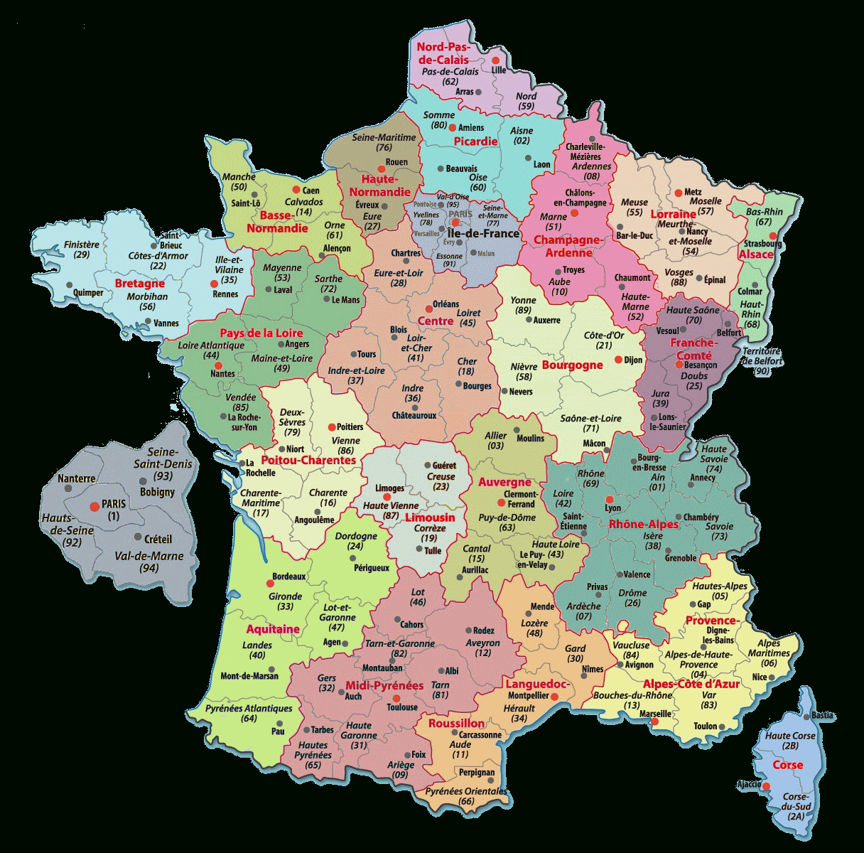 Carte De France Departements : Carte Des Départements De France destiné Carte Numero Departement