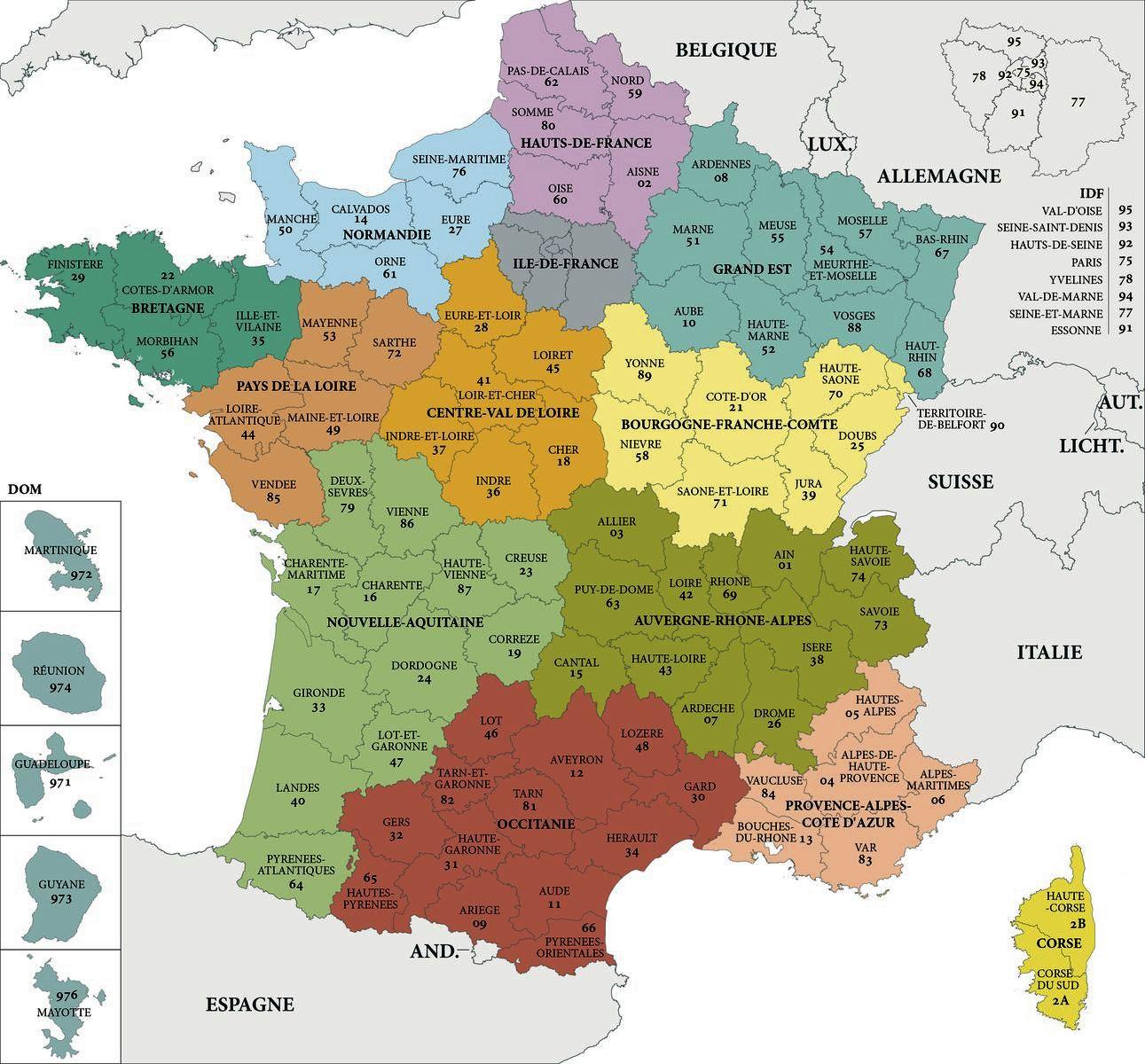Carte De France Departements : Carte Des Départements De France intérieur Imprimer Une Carte De France