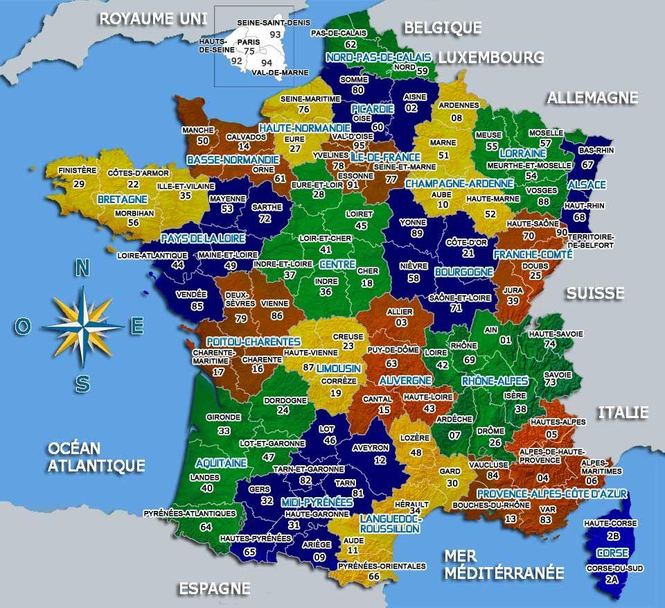 Carte De France Départements Villes Et Régions | France dedans Carte De France Avec Département À Imprimer
