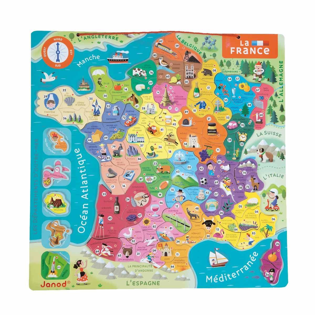 Carte De France Magnétique Pour Enfant De 7 Ans À 12 Ans encequiconcerne Carte De France Pour Les Enfants