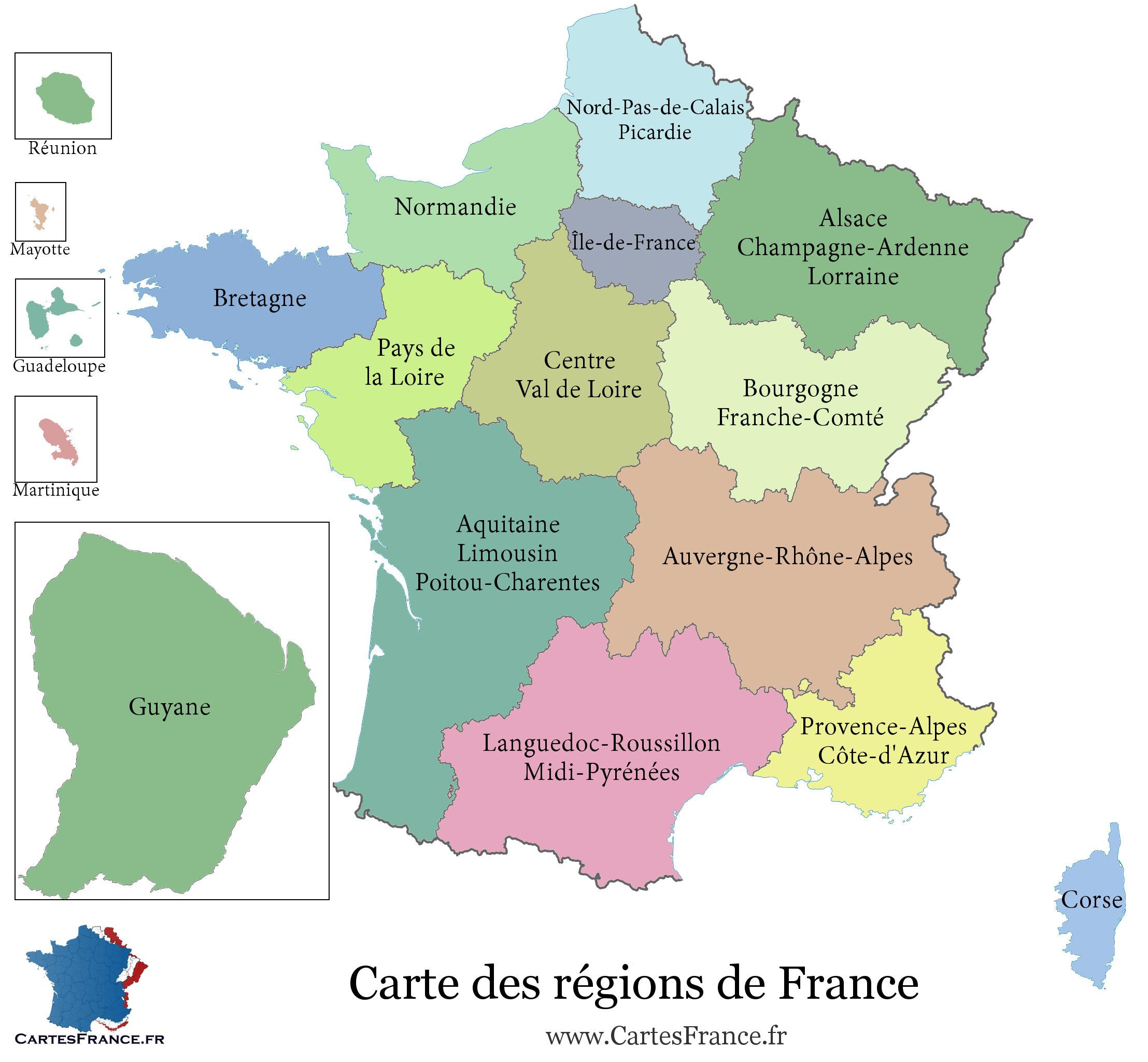 Carte De France Region - Carte Des Régions Françaises serapportantà Nouvelle Carte Des Régions De France