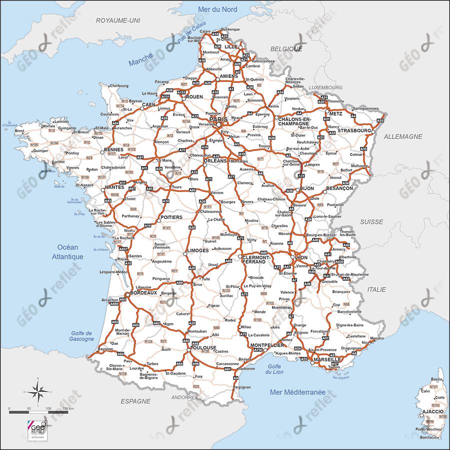 Carte De France Routière Vecteur intérieur Imprimer Une Carte De France