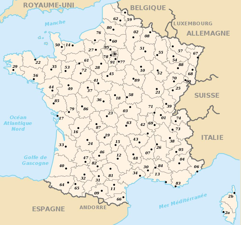 Carte De France Vierge Avec Departements concernant Carte Numero Departement