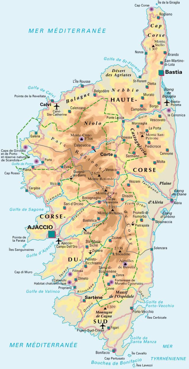 Carte De La Corse Detaillee, Visualisez La Carte De La Corse serapportantà Imprimer Une Carte De France