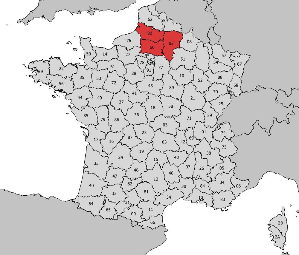 Carte De La Picardie - Découvrir La Régions, Départements intérieur Carte Numero Departement