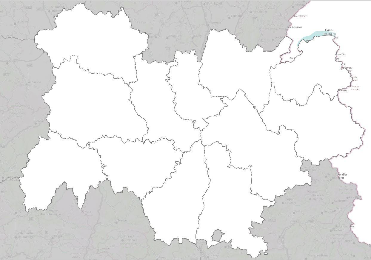 Carte De L'auvergne-Rhône-Alpes - Auvergne-Rhône-Alpes tout Carte Des Régions Vierge