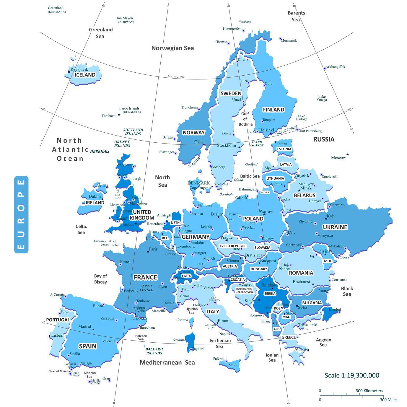 Carte De L'europe - Cartes Reliefs, Villes, Pays, Euro, Ue destiné Union Européenne Carte Vierge
