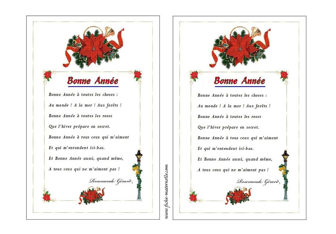 Carte De Voeux En Maternelle avec Poeme Voeux Nouvel An