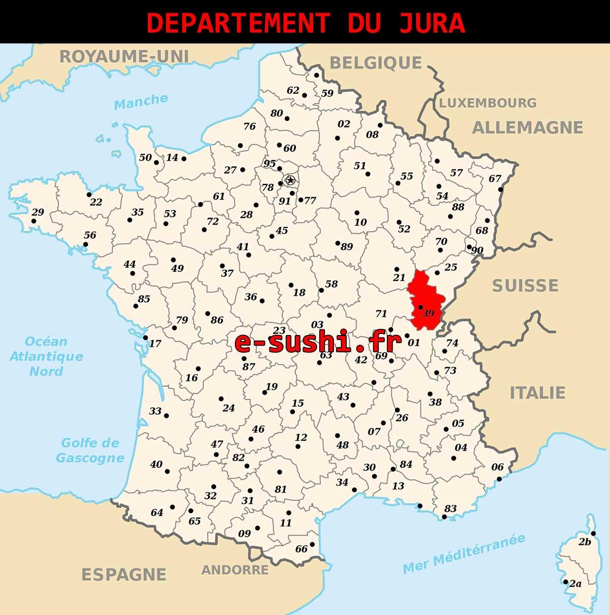 Carte - Département Jura - Arts Et Voyages avec Carte Numero Departement