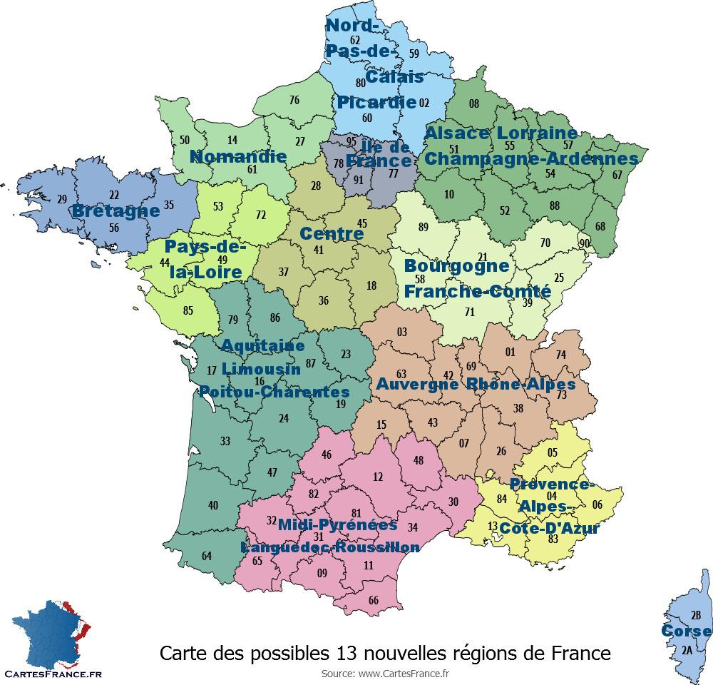 Carte Des 13 Nouvelles Régions destiné Carte Numero Departement