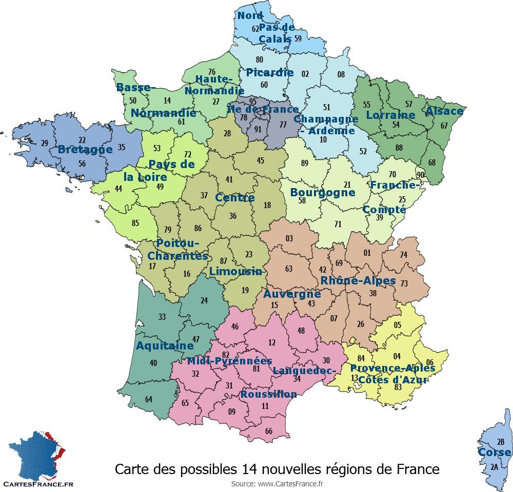 Carte Des 14 Nouvelles Régions pour Carte Des Régions Vierge