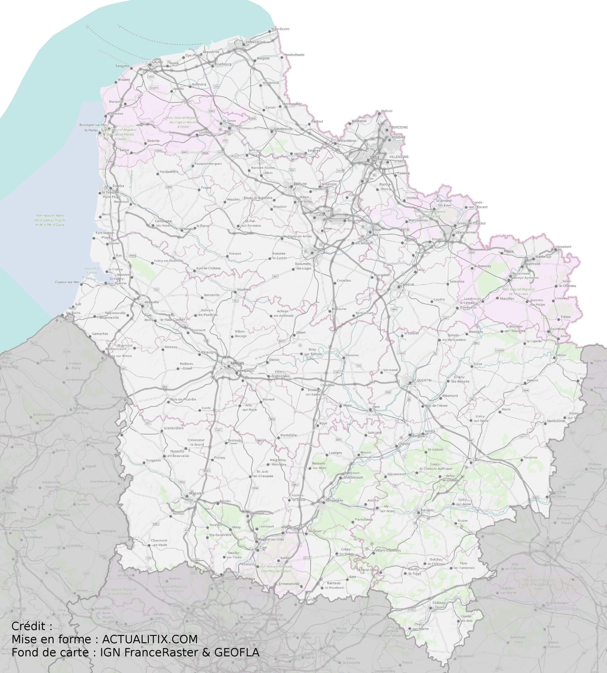Carte Des Hauts-De-France - Hauts-De-France Carte Des Villes dedans Carte De France Avec Département À Imprimer