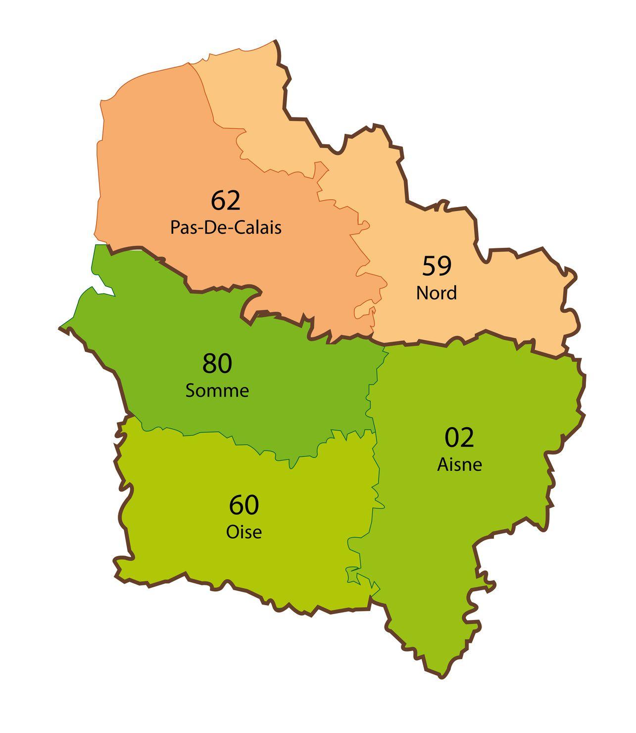 Carte Des Hauts-De-France - Hauts-De-France Carte Des Villes intérieur Carte Numero Departement