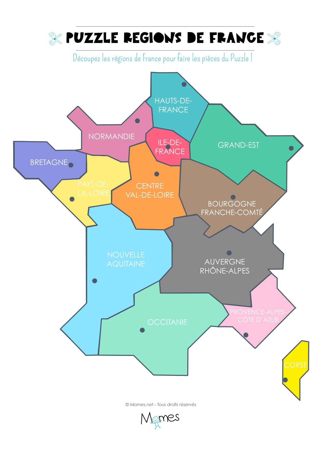 Carte Des Régions De France À Imprimer En Puzzle ! - Momes encequiconcerne Imprimer Une Carte De France