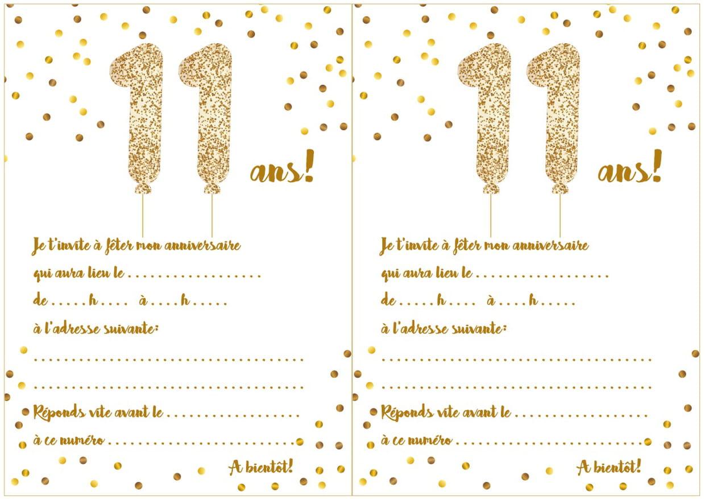 Carte D'invitation D'anniversaire 11 Ans serapportantà Jeux De Fille De 11 Ans Gratuit
