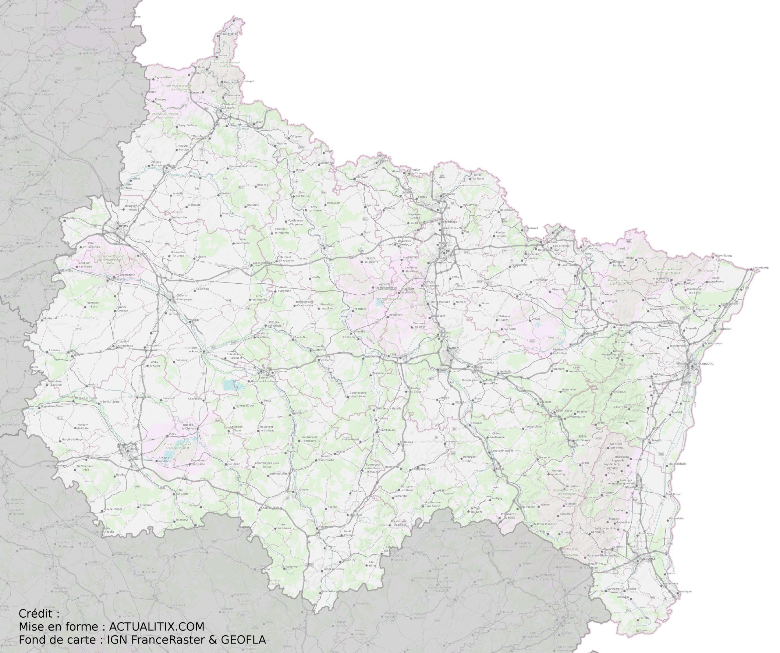 Carte Du Grand Est - Grand Est Carte Des Villes intérieur Carte Numero Departement