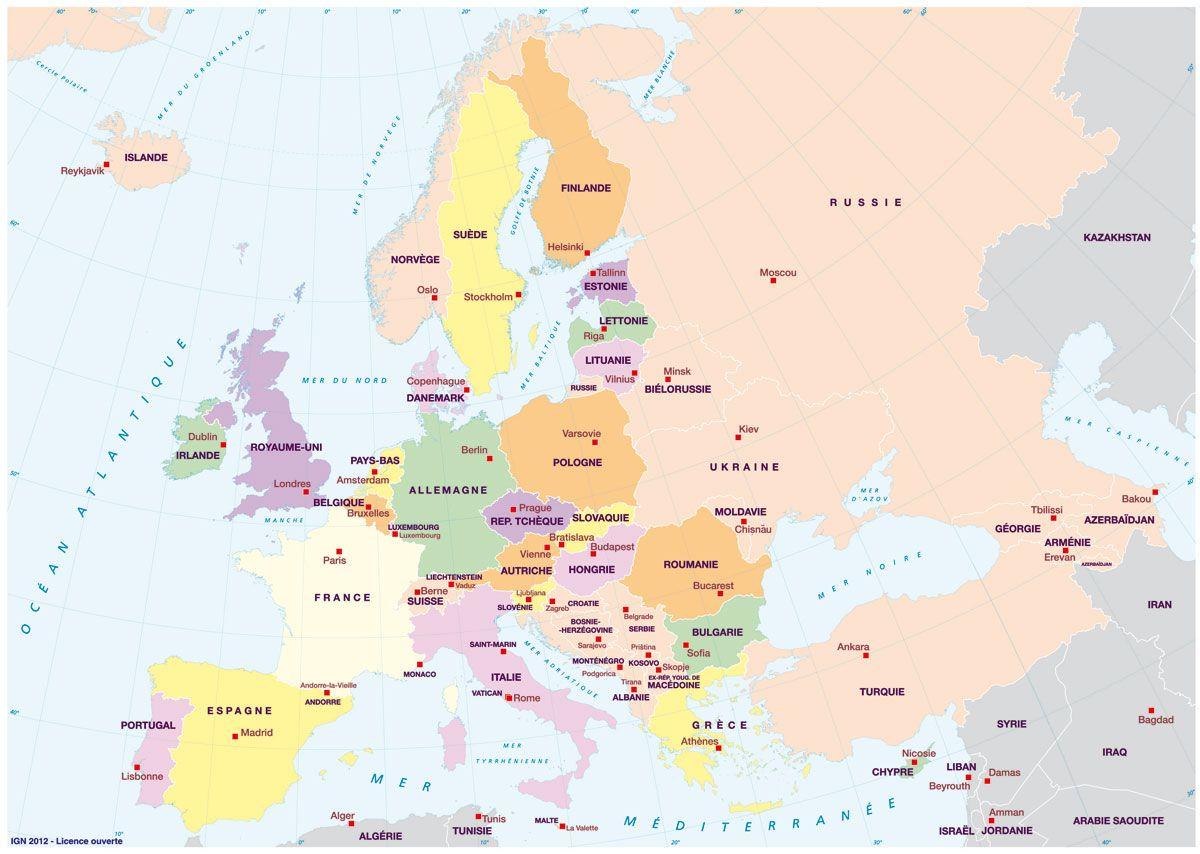 Carte Europe Capitales - Recherche Google (Avec Images pour Carte Europe Avec Capitales
