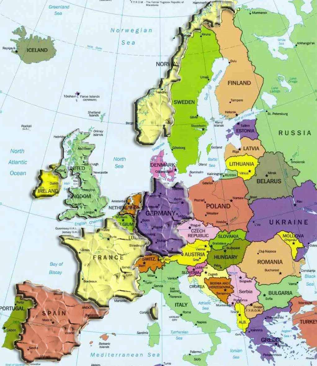 Carte Europe intérieur Carte Europe Capitale