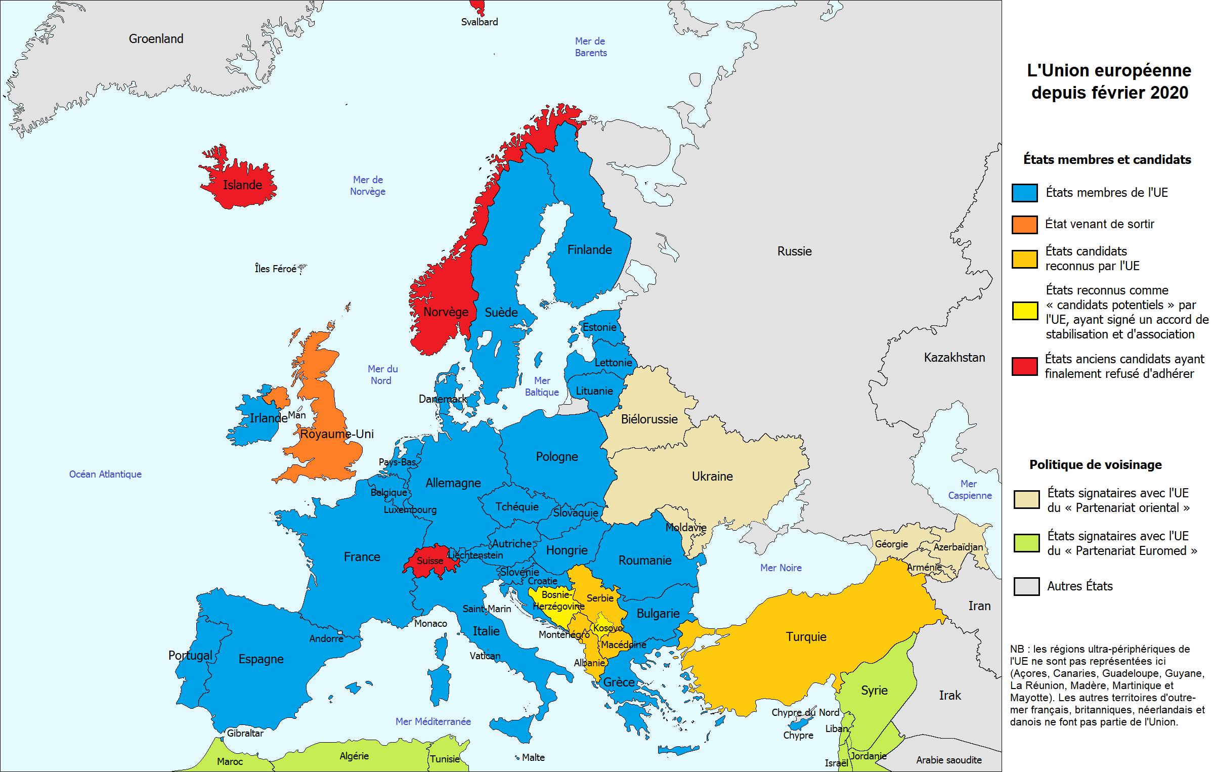 Carte : L'union Européenne - Librecours.eu à Union Européenne Carte Vierge
