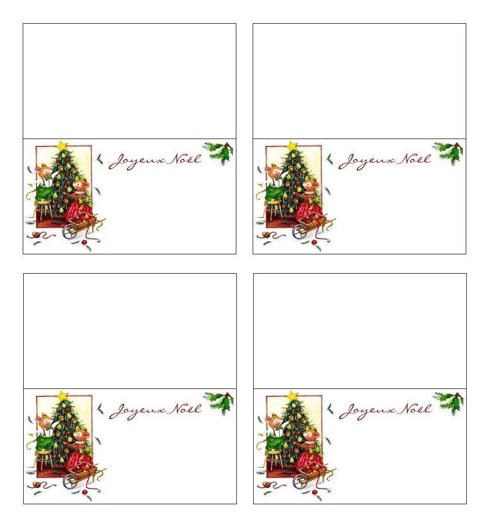Carte Marque-Place De Table Réveillon De Noël À Imprimer tout Etiquette Noel A Imprimer