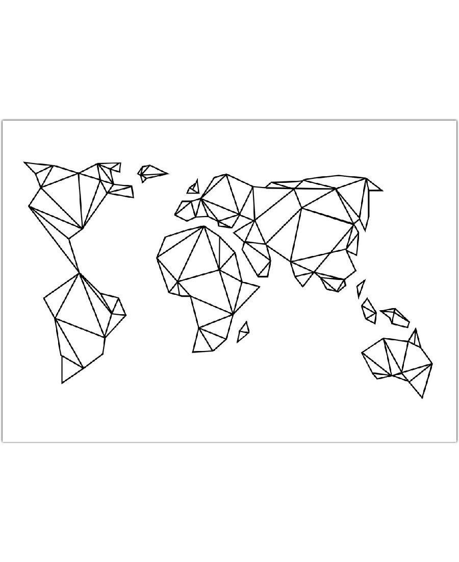 Carte Origami | Dessin Origami, Tape Art, Époque Géométrique destiné Dessin Mappemonde