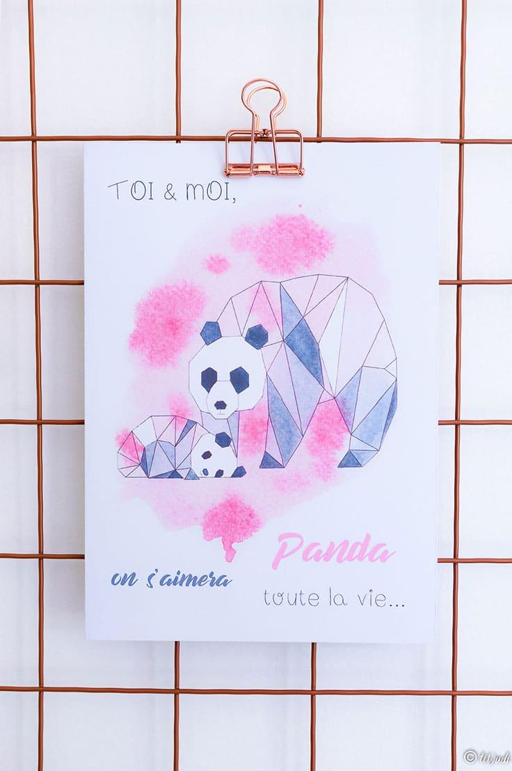 Carte Pandas Origami Et Aquarelle - Fête Des Mères encequiconcerne Carte Bonne Fete Maman A Imprimer