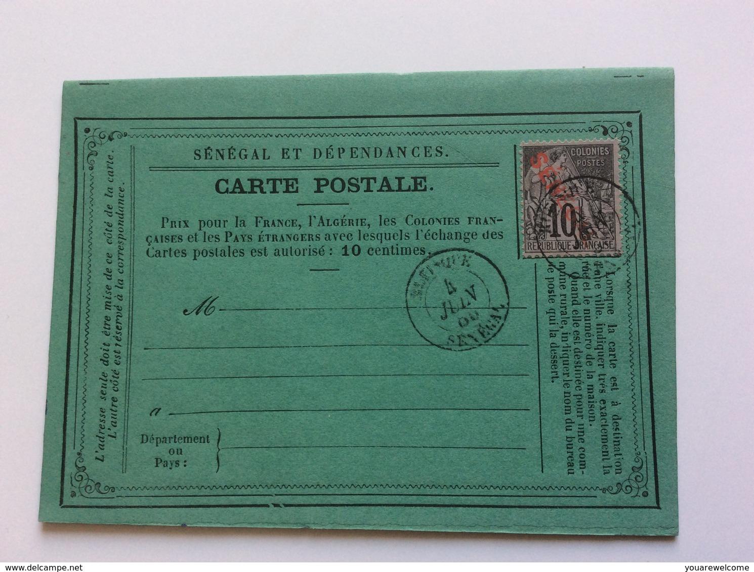 """Carte Postale Precurseur Type Dubois Surch. """"Senegal"""" Rr! Rufisque 1886  (Lettre Entier Postal Cover dedans Carte Numero Departement"""