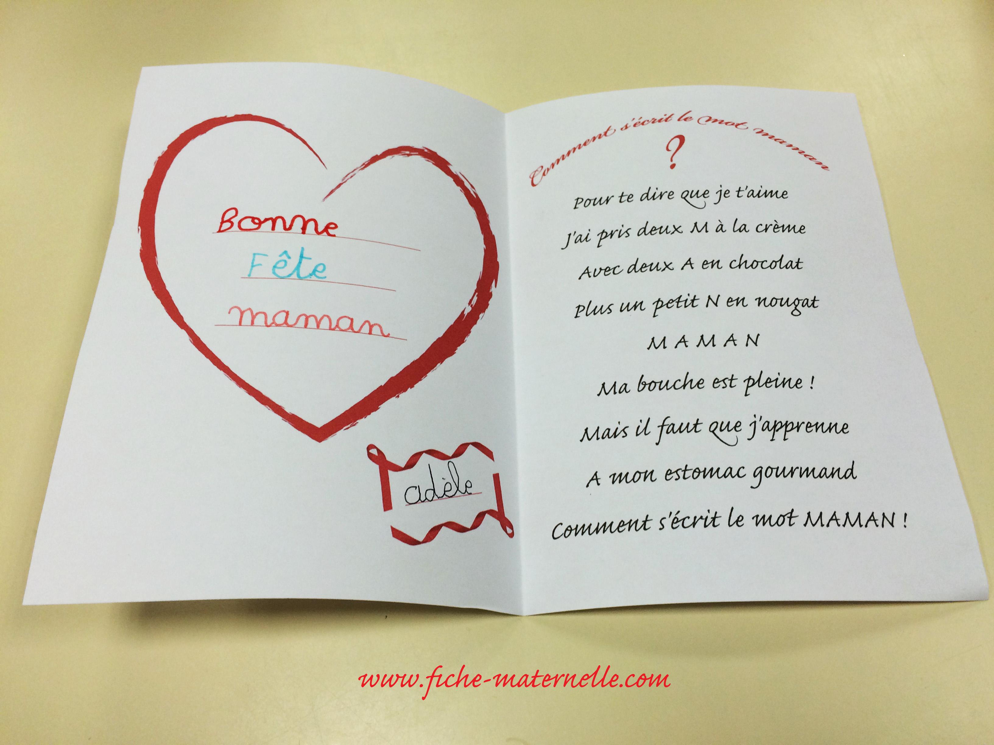 Carte Pour La Fête Des Mères En Maternelle avec Carte Bonne Fete Maman A Imprimer