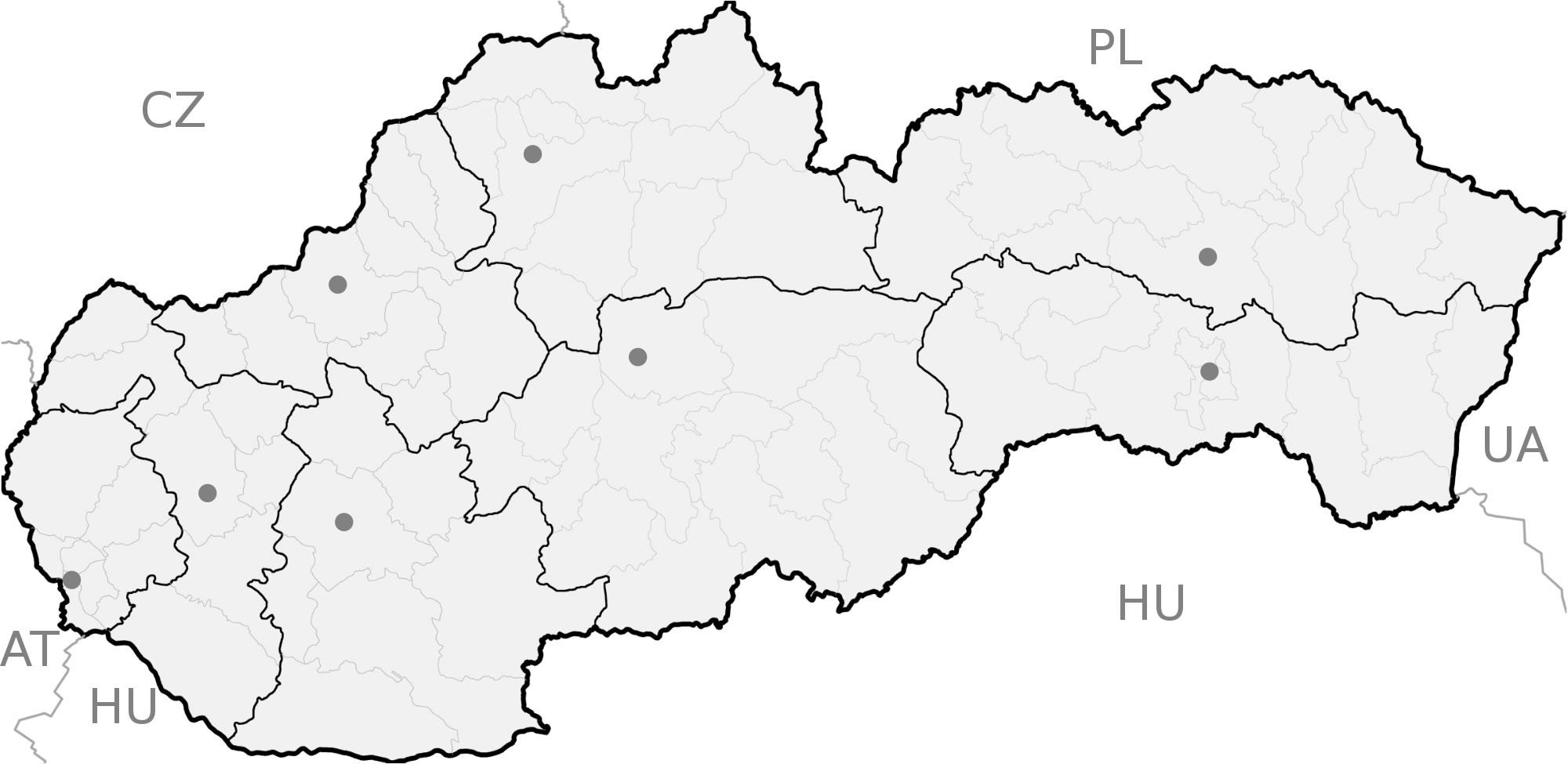 Carte Slovaquie Vierge Régions, Carte Vierge Des Régions De pour Carte Des Régions Vierge