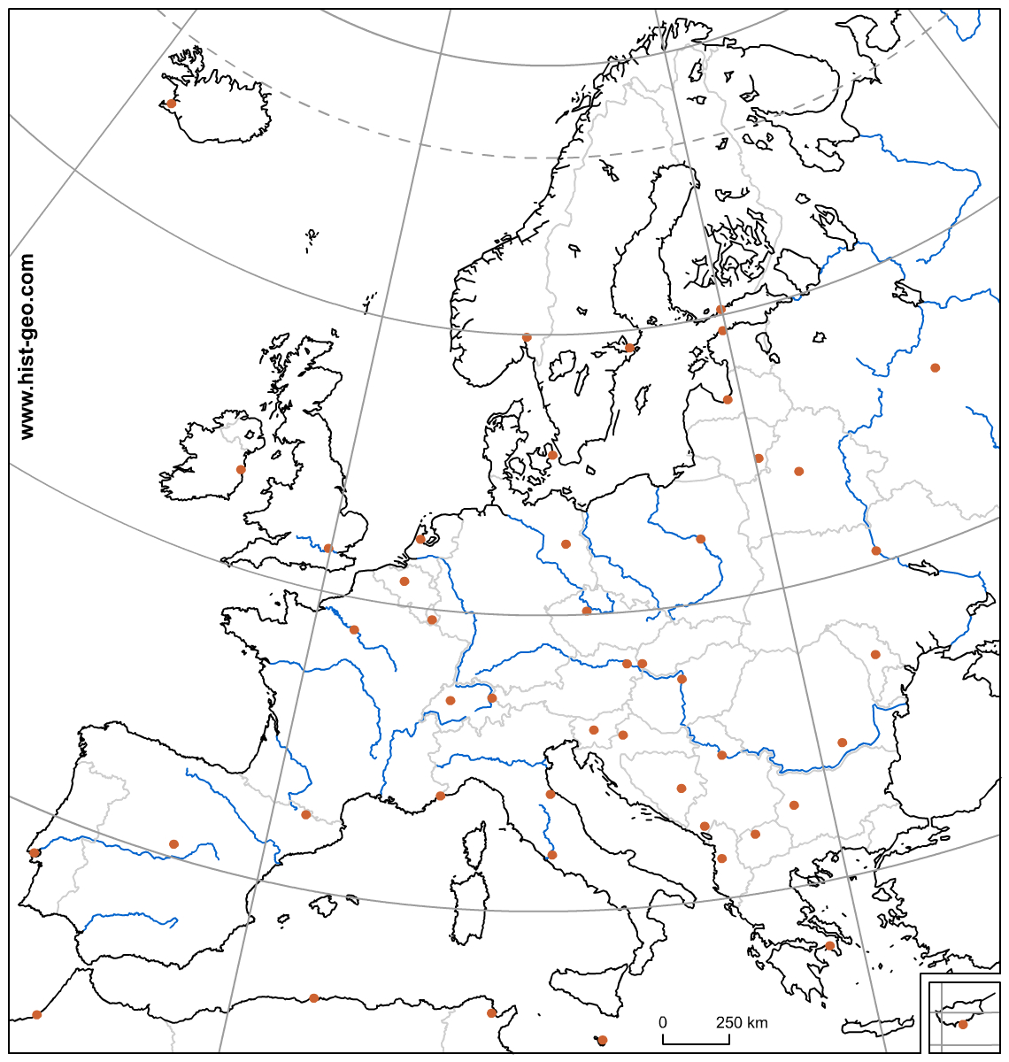 Carte Vierge De L'union Européenne (Pays, Capitales, Fleuves dedans Union Européenne Carte Vierge