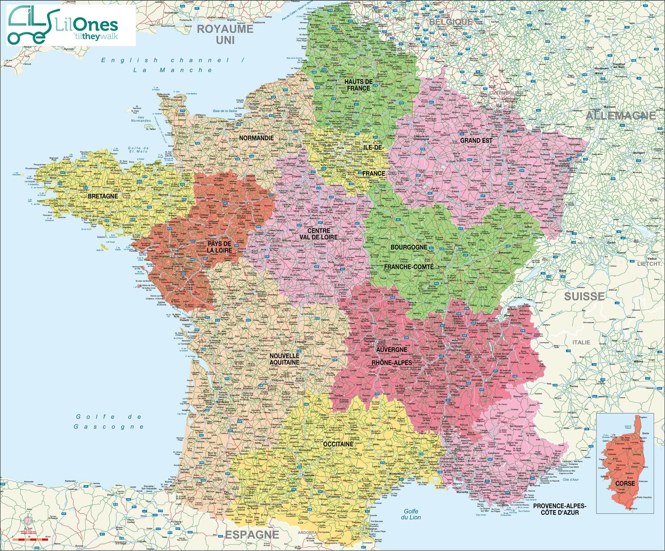 Cartes De France : Cartes Des Régions, Départements Et serapportantà Carte De France Avec Département À Imprimer