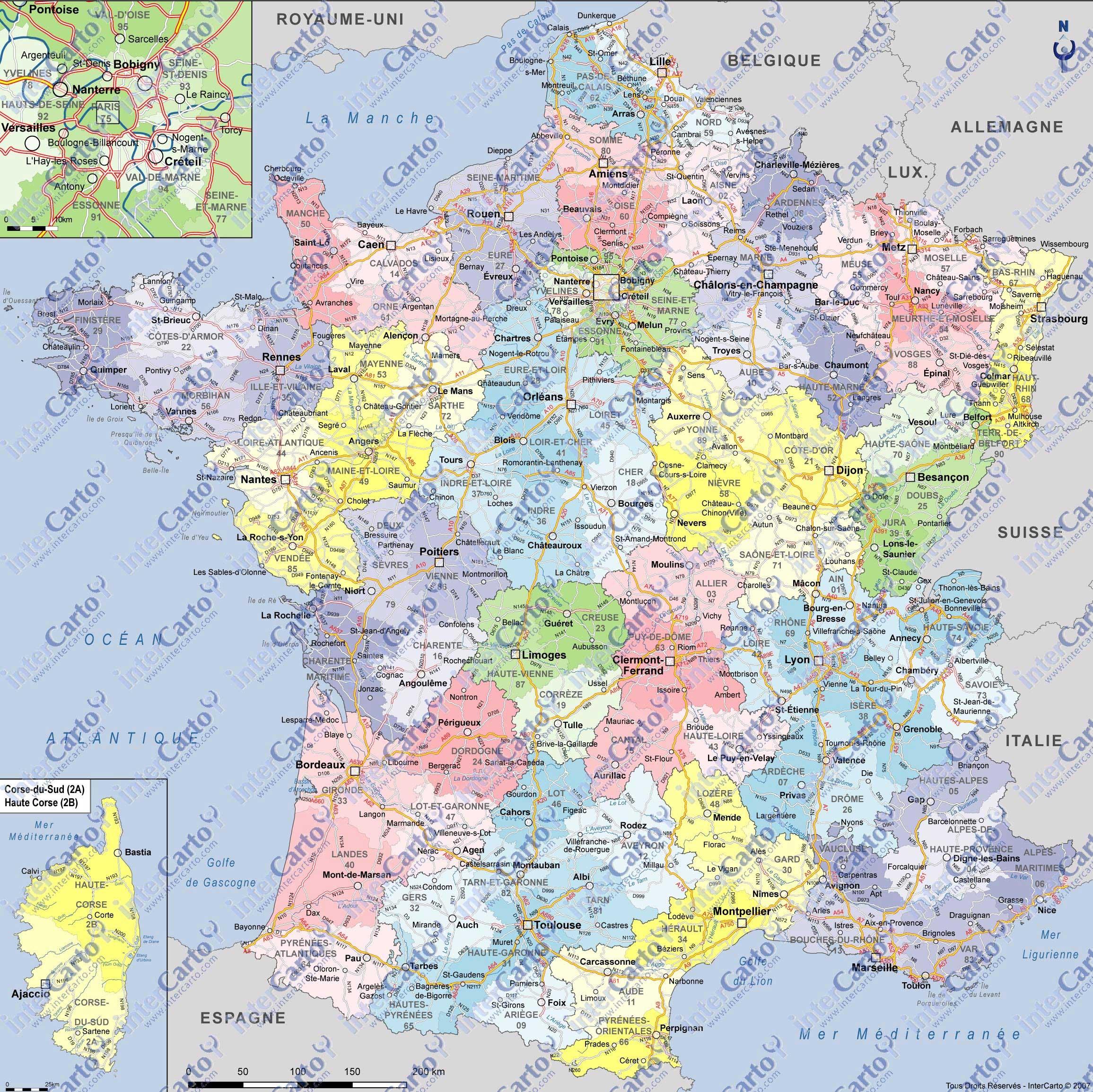 Cartes De France » Vacances - Arts- Guides Voyages serapportantà Carte De France Avec Département À Imprimer