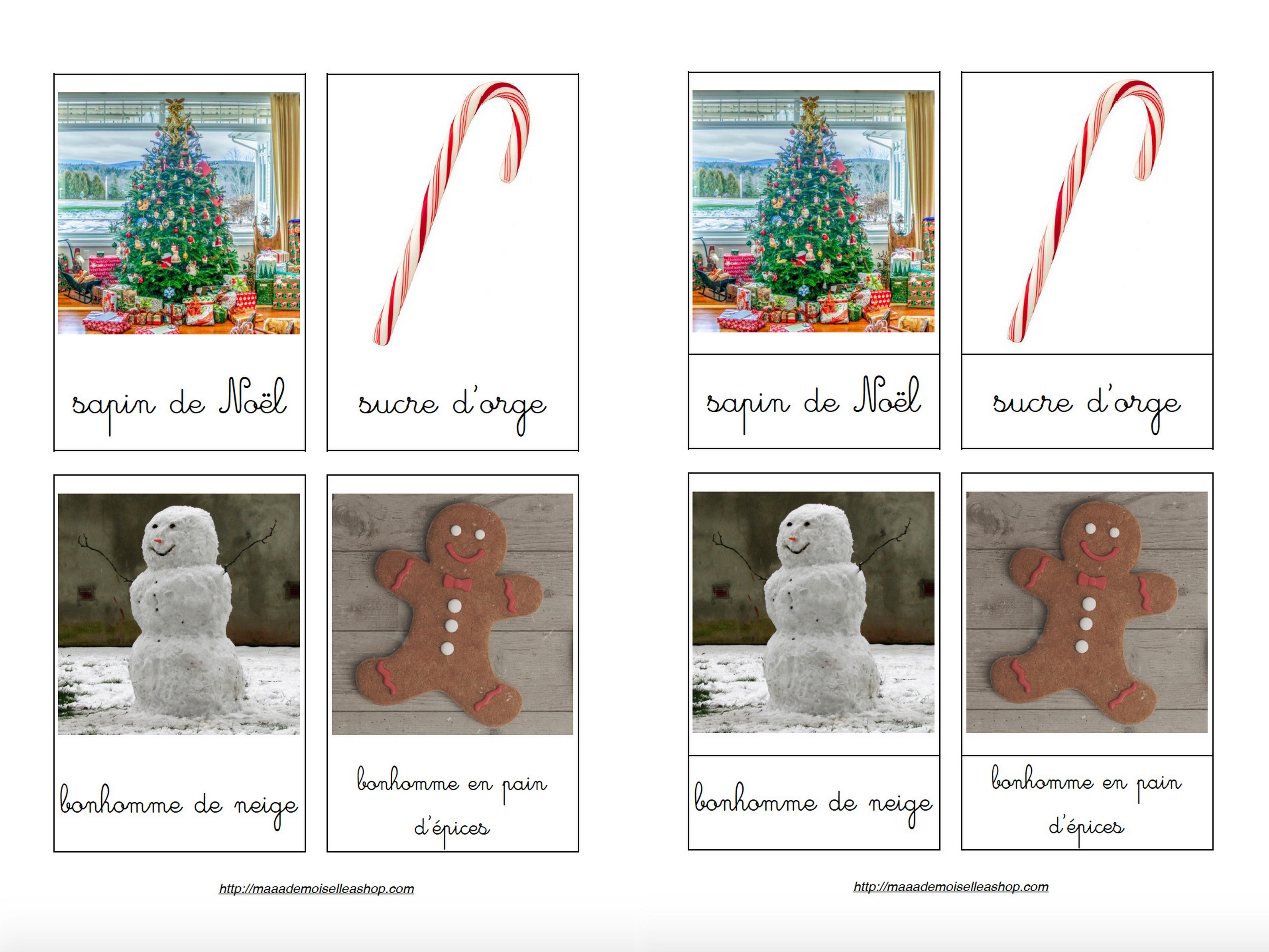 Cartes De Nomenclature - Imagier De Noël (40 Cartes + Pochette De Rangement) intérieur Police Ecriture Noel