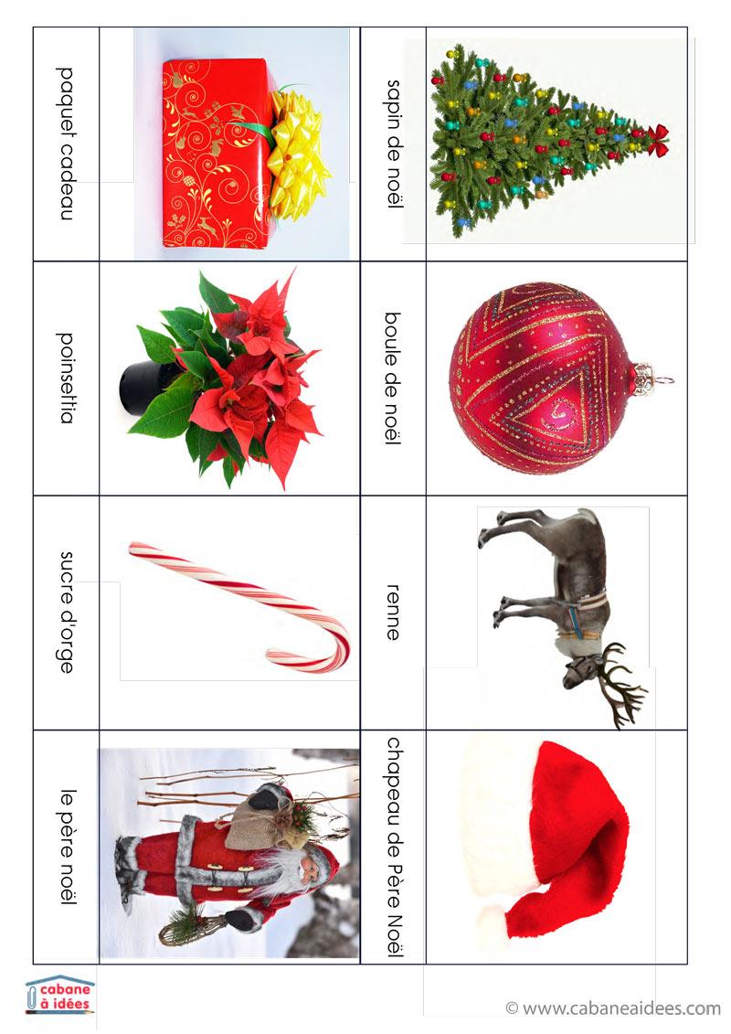 Cartes De Nomenclature Noël (Français / Anglais) à Police Ecriture Noel
