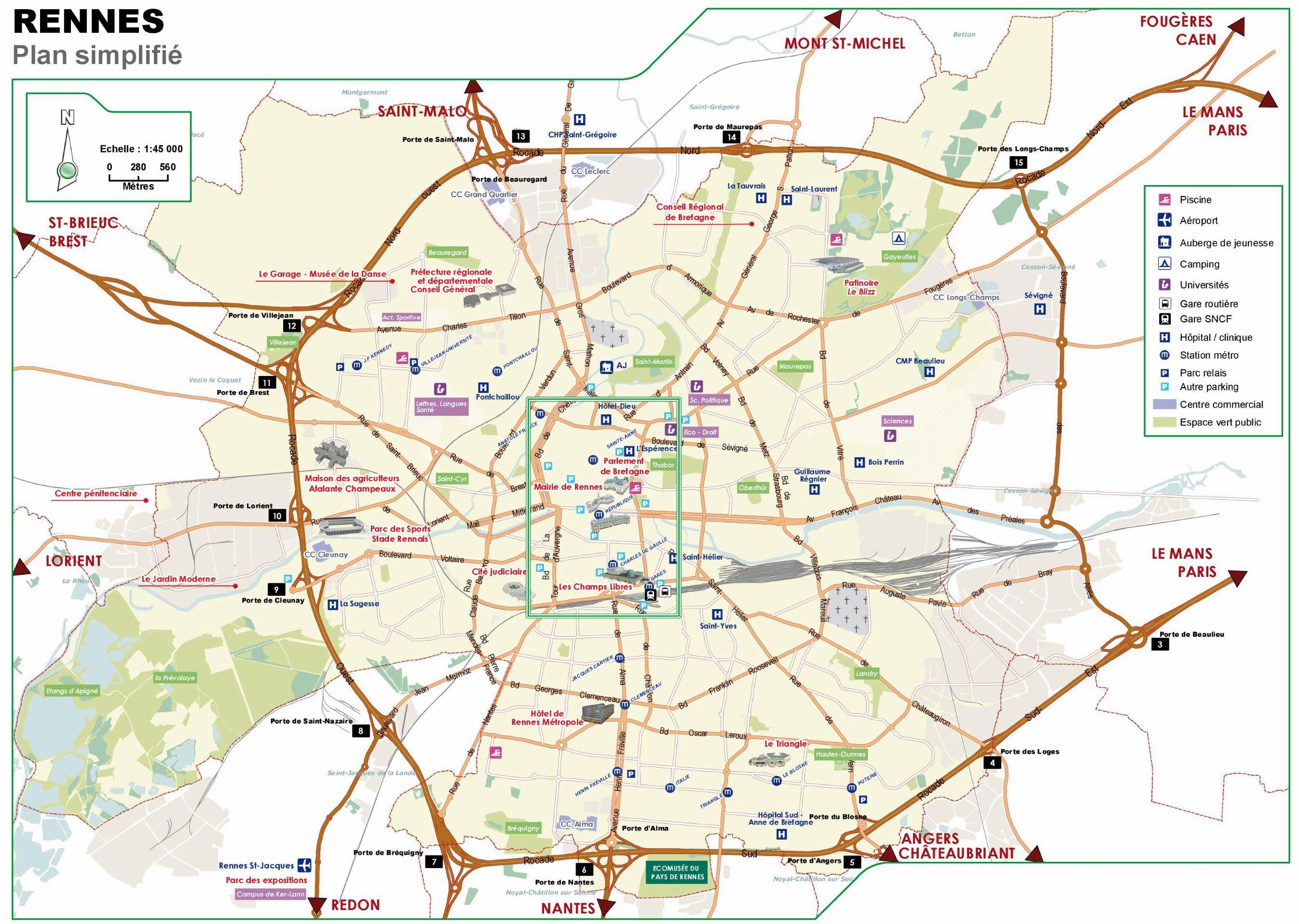 Cartes De Rennes | Cartes Typographiques Détaillées De pour Imprimer Une Carte De France