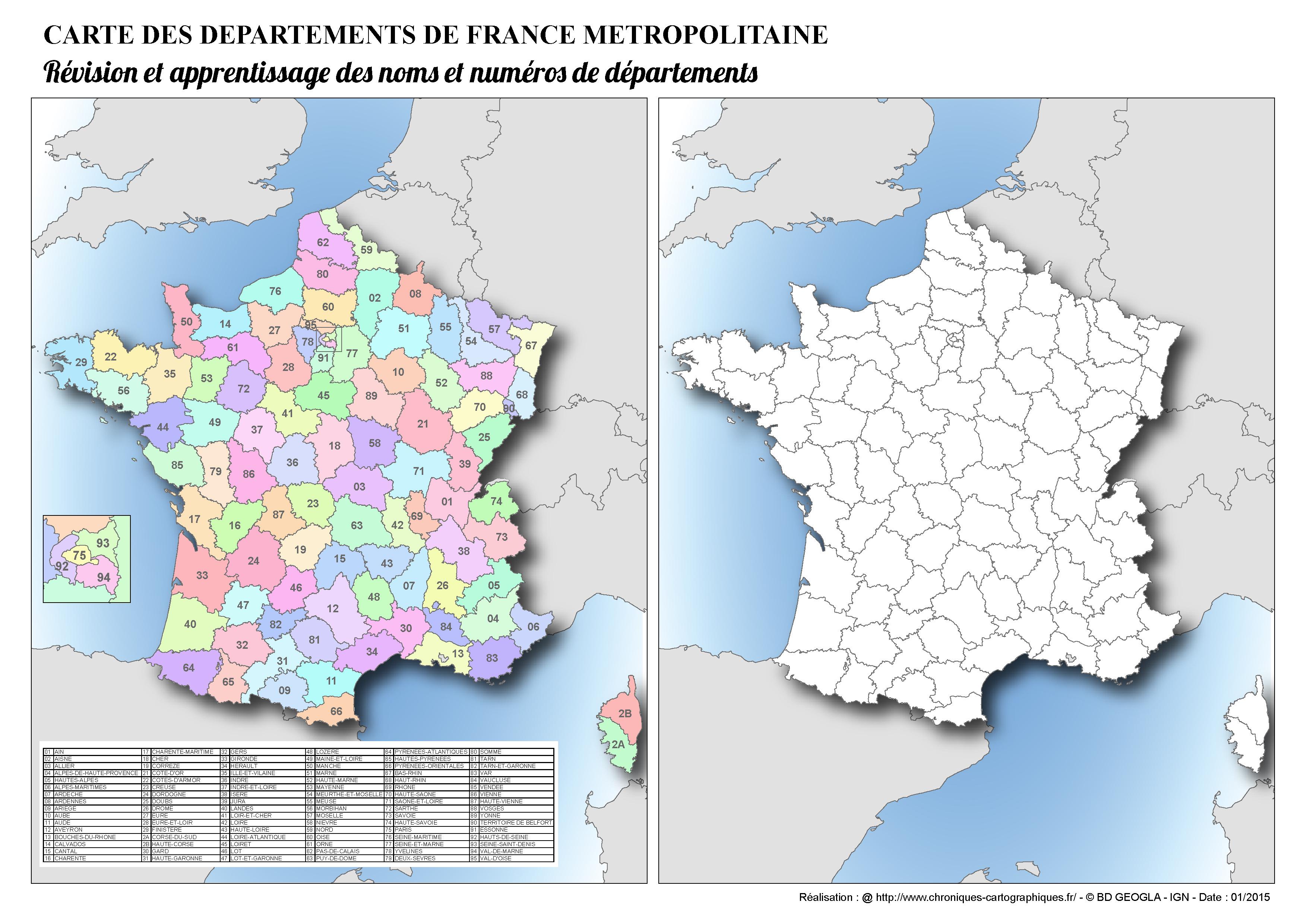 Cartes Muettes De La France À Imprimer - Chroniques concernant Carte De France Avec Département À Imprimer