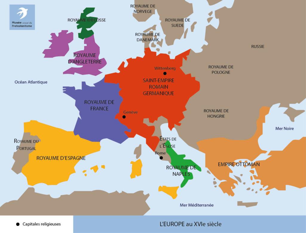 Cartes - Xvie Siècle - Musée Protestant concernant Carte Europe Capitale