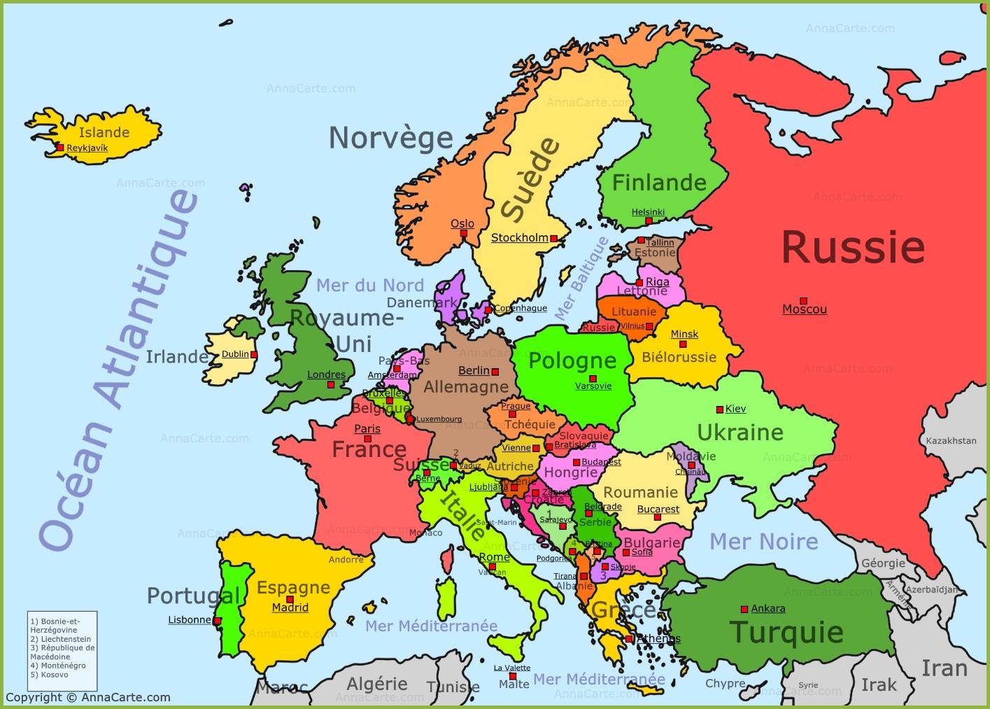 Cartograf.fr : Carte Europe : Page 8 destiné Carte Europe Capitale