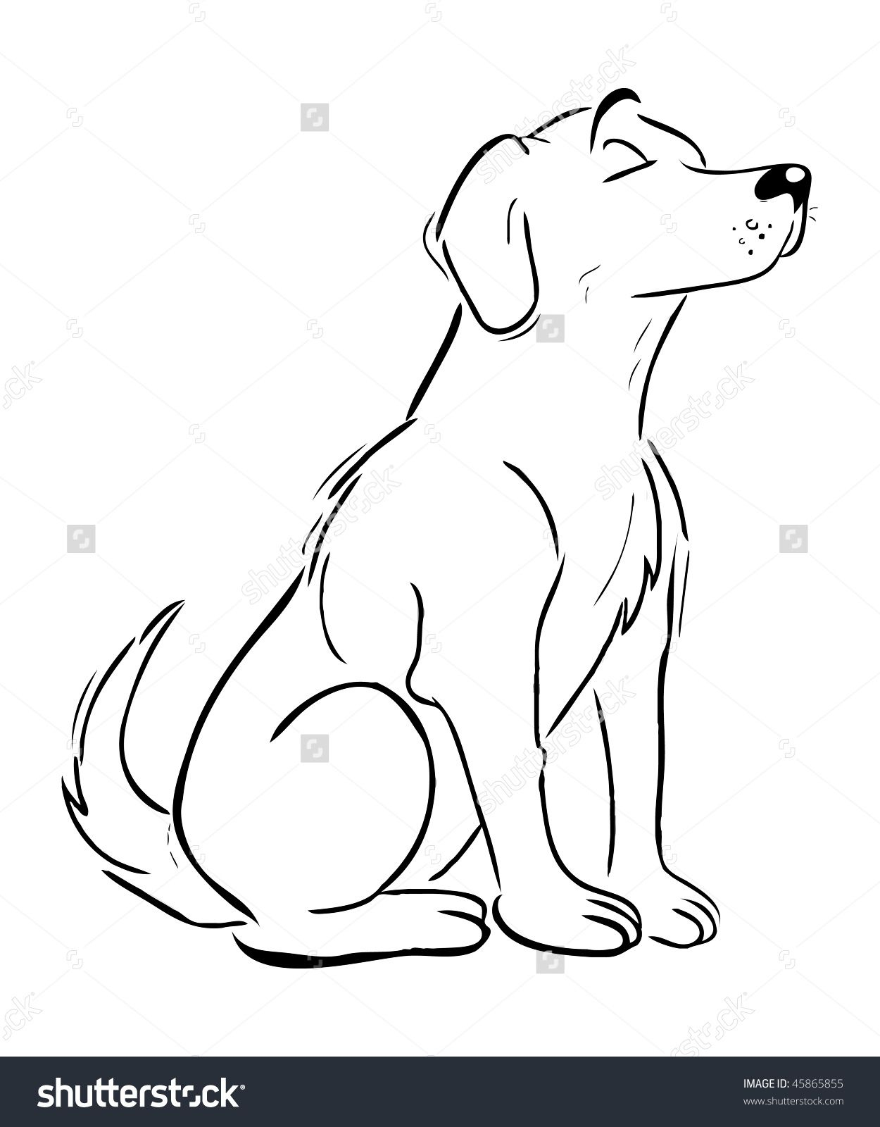Cartoon Vector Outline Illustration Labrador Retriever Dog pour Coloriage Labrador