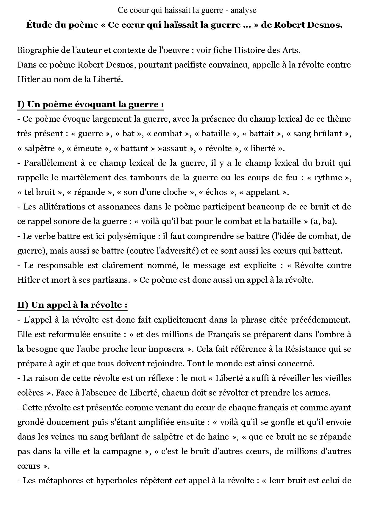 Ce Coeur Qui Haissait La Guerre - Analyse - Docsity concernant Poème De Robert Desnos