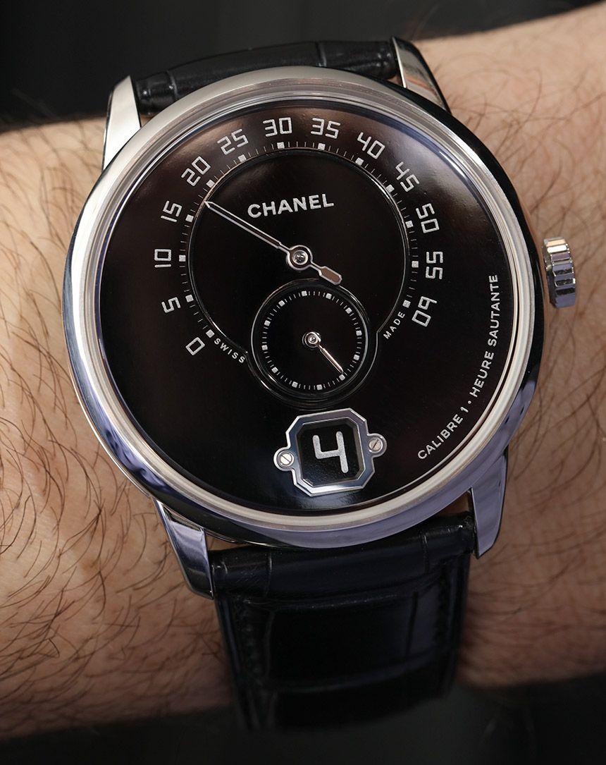Chanel Monsieur De Chanel Watch In Platinum With Black pour Monsieur Le Montre