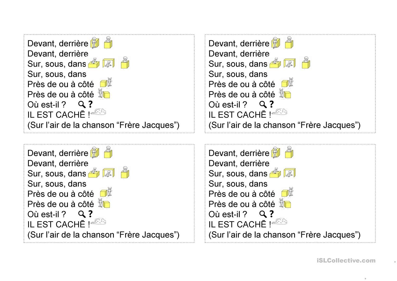 Chanson : Devant, Derrière (Les Positions) - Français Fle destiné Frere Jacques Anglais