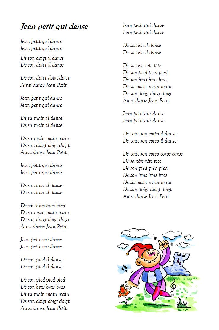 Chanson Jean Petit Qui Danse - Paroles Illustrées De La serapportantà Chanson A Imprimer
