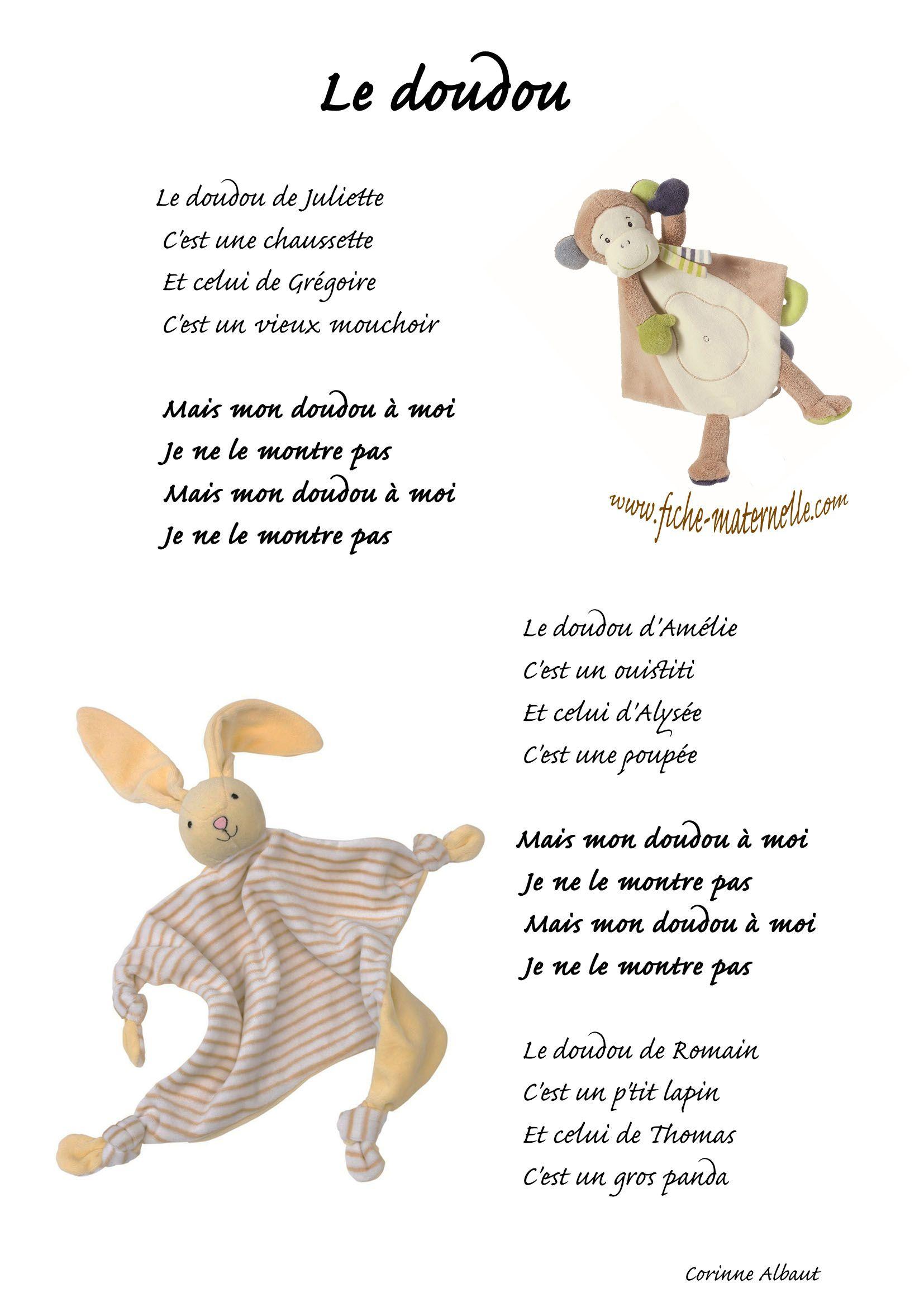 Chanson Le Doudou   Comptines, Chanson Enfantine, Comptines concernant Chanson Enfant Lapin