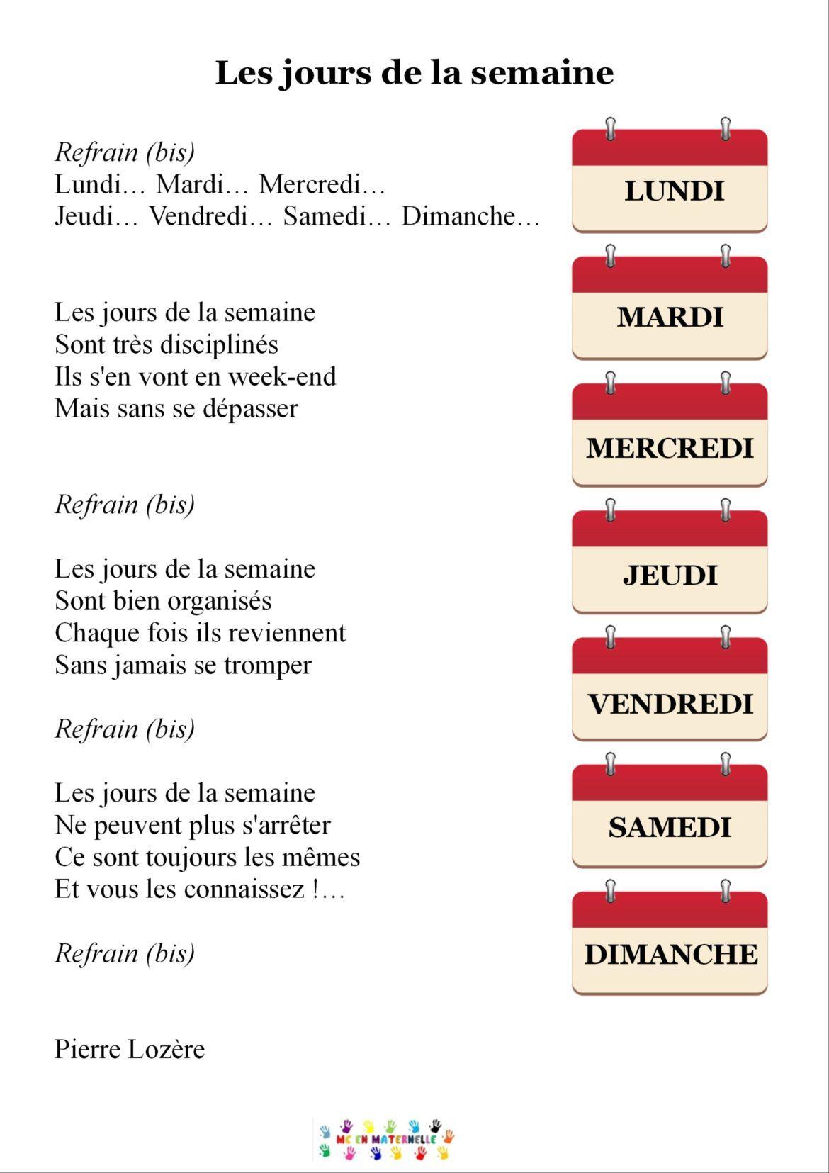 Chanson Les Jours De La Semaine | Jours De La Semaine avec Chanson A Imprimer