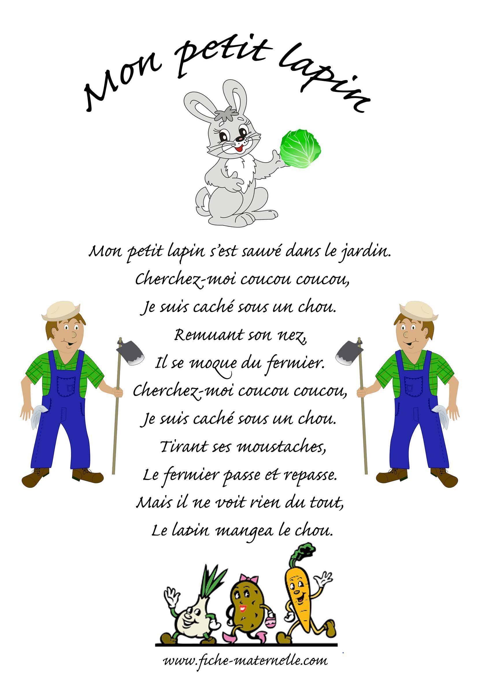Chanson Mon Petit Lapin   Comptine Animaux, Comptines intérieur Chanson Enfant Lapin