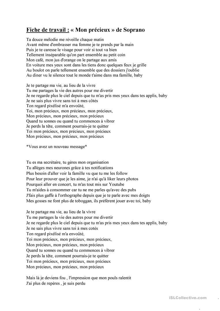 Chanson Mon Précieux De Soprano - Français Fle Fiches intérieur Chanson A Imprimer
